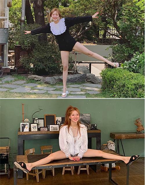 Hyun Ah mặc đồ siêu ngắn, liên tục pose dáng xoạc chân kỳ quặc với biểu cảm cực phởn trong buổi chụp hình.