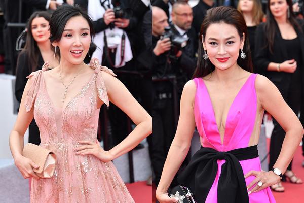 Một số gương mặt lạ lẫm khác đến từ Trung Quốc ăn diện hút mắt, tự tin  tạo dáng trên thảm đỏ lễ khai mạc LHP Cannes. Họ bị cộng đồng mạng nước  này chế nhạo vì không có sản phẩm nào cũng đến liên hoan phim.