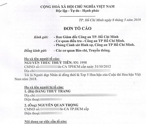 Đơn tố cáo gửi lên cơ quan công an của Thùy Tiên.