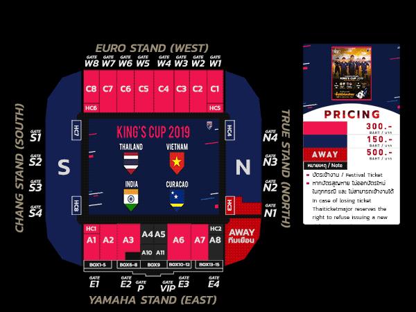 Bảng vé ngày dành cho CĐV Thái Lan và CĐV đội khách.