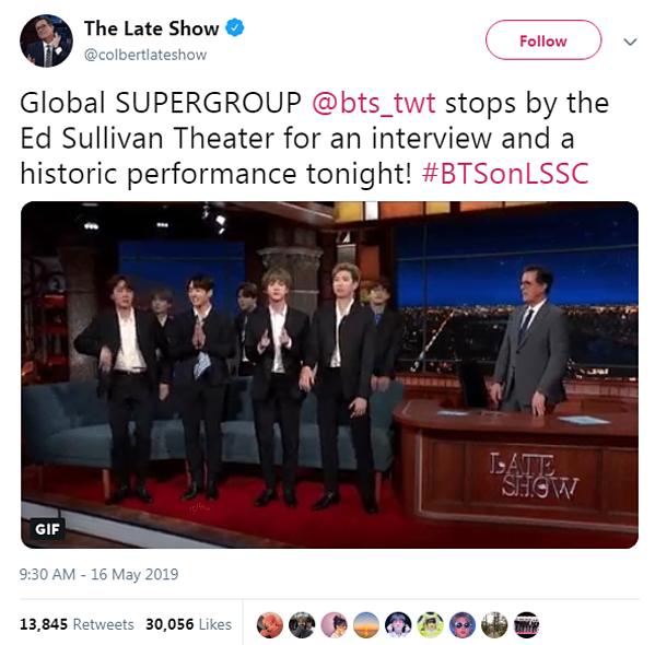 The Late Show gọi sân khấu của BTS là màn trình diễn lịch sử.