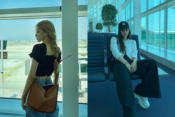 Rosé và Jennie có ngay ảnh check-in làm màu khi ngồi đợi ở sân bay.