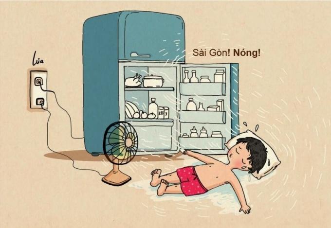 """<p> Sài Gòn chia sẻ: """"Hà Nội em ơi bức bối mà làm gì, Sài Gòn anh đây một năm chỉ có hai mùa: mùa nắng và mùa nắng hơn"""".</p>"""