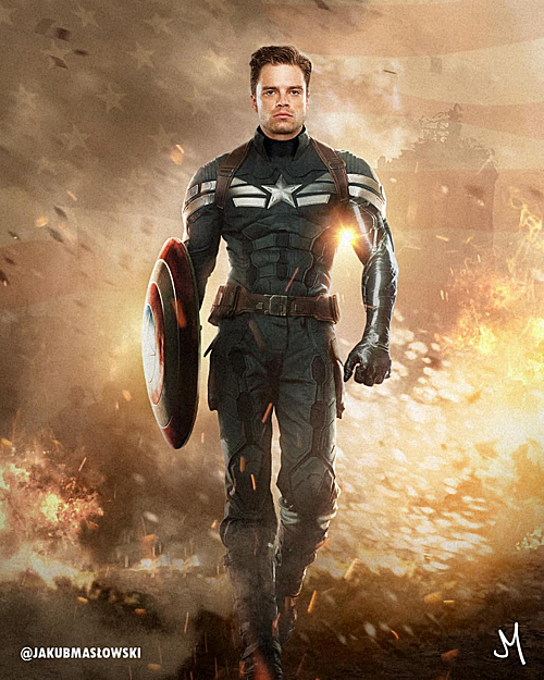 Winter Soldier trong trang phục Captain America.