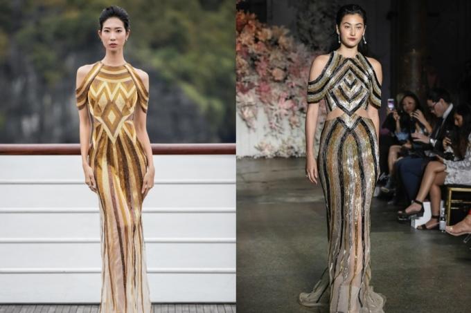 """<p> Trong BST """"Mặt trời phương Đông"""" giới thiệu năm ngoái, một thiết kế của Lê Thanh Hòa cũng khiến nhiều người liên tưởng đến chiếc đầm trong BST Resort 2018 của Steven Khalil ra mắt năm 2017.</p>"""