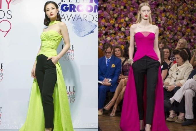 <p> Thiết kế đầm cúp ngực từng xuất hiện trong BST Couture Fall của Dior 2012.</p>