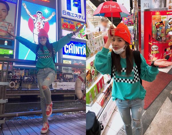 Dara khoe ảnh đi du lịch Nhật Bản, tạo dáng nhí nhảnh.
