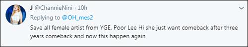 Cứu tất cả nghệ sĩ nữ ở YG đi. Tội nghiệp Lee Hi cô ấy chỉ muốn trở lại sau 3 năm và bây giờ chuyện này lại xảy ra.