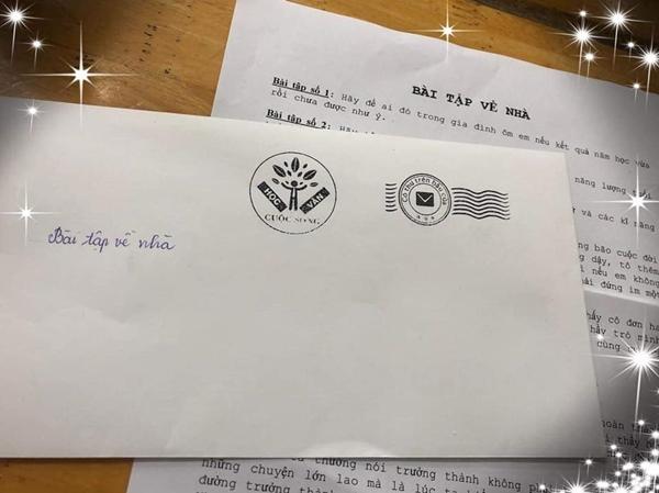 Lá thư chứa đựng Bài tập về nhà của thầy giáo Đỗ Đức Anh.