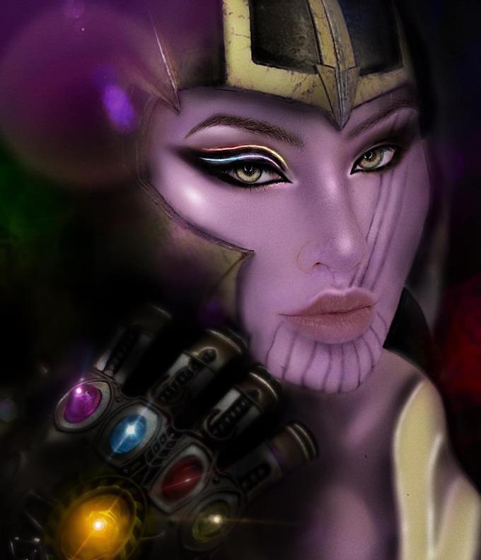 <p> Bạn đã bao giờ tưởng tượng gãác nhân Thanos với tham vọng tiêu diệt một nửa vũ trụ trông sẽ thế nào khi biến thành con gái?</p>