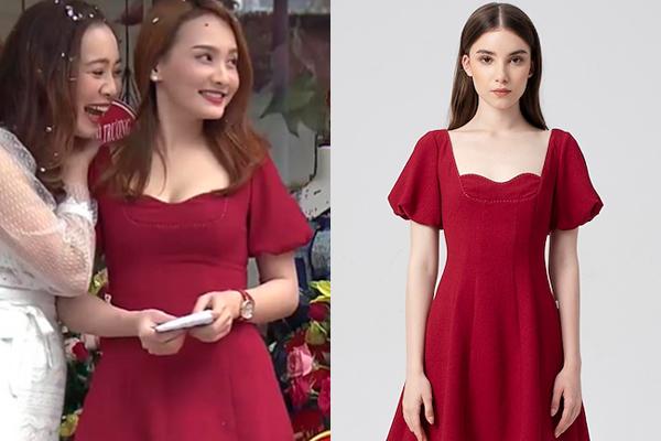Chiếc váy đỏ cổ vuông tay bồng giá khoảng 1,2 triệu đồng Bảo Thanh mặc trong một phân cảnh cũng được nhiều cô gái yêu thích.