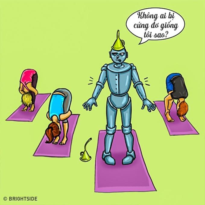 """<p> Trong lớp tập yoga, mọi người đều có thể tập mọi động tác một cách dễ dàng trừ bạn - một """"con robot"""" chính hiệu.</p>"""