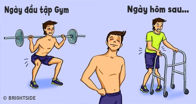 <p> Ai cũng phải trải qua giai đoạn đau nhức toàn thân, sau ngày tập gym đầu tiên.</p>