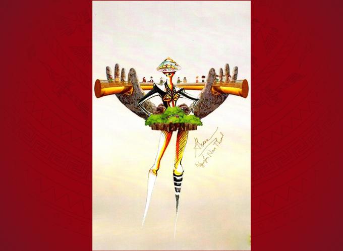 """<p> """"Nàng Hill"""" lấy cảm hứng từ chiếc cầu Vàng trên đỉnh Bà Nà Hills Đà Nẵng. Người mặc diện đầm ngắn khoe chân, phía sau là chi tiết trang trí với đôi bàn tay Phật nâng đỡ chiếc cầu lấp lánh như dải lụa.</p>"""