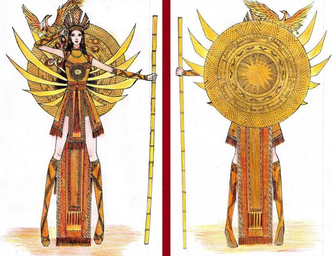 """<p> Bài thi """"Văn Lang ngàn thu"""" được dự đoán sẽ dễ dàng lọt vào Top 15 chung cuộc. Thiết kế lấy ý tưởng từ thời kỳ dựng nước, mở mang bờ cõi với hình ảnh vua Hùng và người chiến binh kết hợp. Phía sau trang phục là chiếc Trống Đồng tượng trưng cho tinh hoa văn hóa Việt Nam.</p>"""