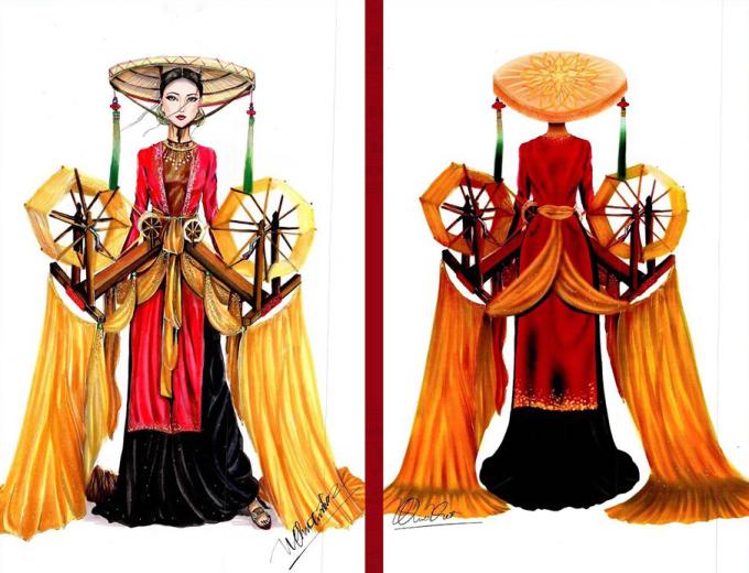 """<p> Một tác phẩm khác của Nguyễn Quốc Việt là """"Nàng lụa"""". Tác giả bám sát hình ảnh của người phụ nữ Bắc Bộ xưa với áo tứ thân, nón quai thao. Chi tiết trang trí nổi bật là hai chiếc máy quay tơ, xe sợi, tạo nên những tấm lụa mềm mại.</p>"""