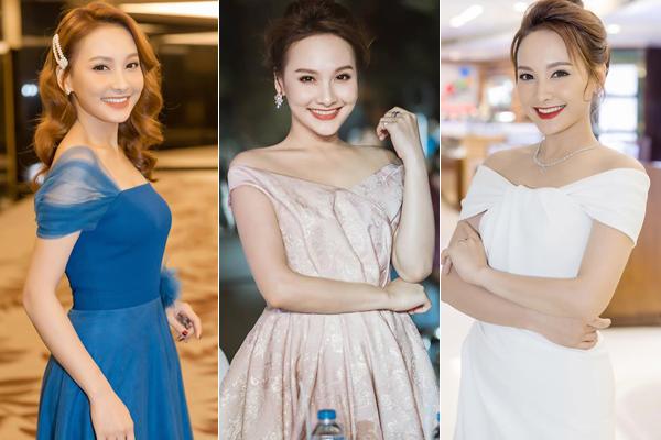 Váy trễ vai nhẹ nhàng cũng là kiểu đồ được Bảo Thanh yêu thích khi dự tiệc nhằm khoe vẻ gợi cảm nhưng không quá hở hang.