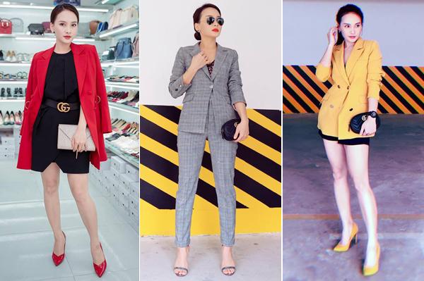 Bảo Thanh có cả một bộ sưu tập blazer để diện ở đời thường. Co cũng gắn bó với giày cao gót - món đồ khó thiếu để tôn chiều cao, tăng độ nữ tính.