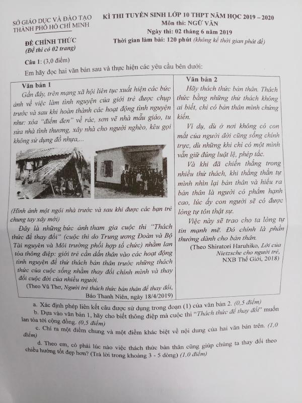 Đề Văn làm thơ của TP HCM khiến thí sinh vào 10 thích thú