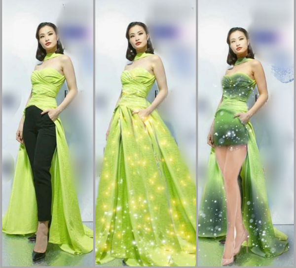 Đây không phải lần đầu tiên Đông Nhi được fan trổ tài photoshop để chữa cháy cho những trang phục chưa đẹp mắt. Trước đó, người đẹp cũng bị chê khi mặc bộ đồ thân trên là váy dạ hội, dưới là quần kiểu công sở.
