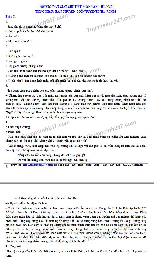 Hướng dẫn giải đề thi Ngữ văn vào lớp 10 ở Hà Nội - 1