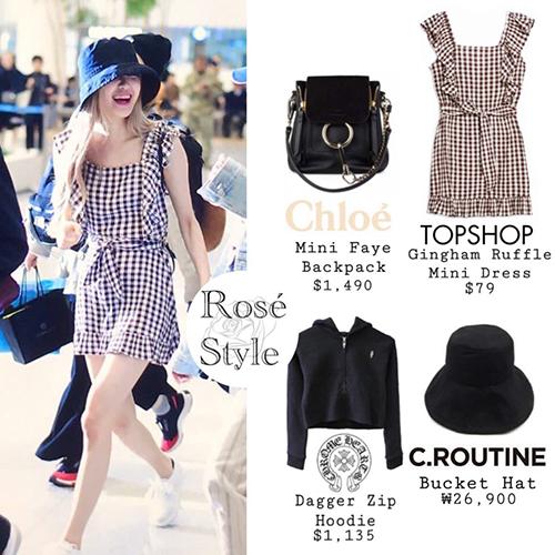 Trang phục của Rosé khá đa dạng về mức giá. Nữ ca sĩ chọn váy của thương hiệu Topshop kết hợp với túi hàng hiệu đắt đỏ.