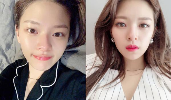 Jeong Yeon (Twice) đăng ảnh trước và sau khi trang điểm.