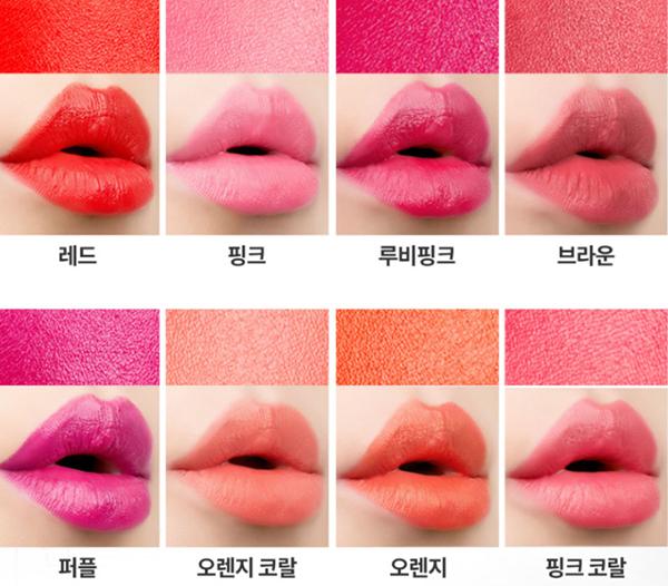 YEON Silk Rouge gồm 8 tông màu đỏ, hồng, cam, sắc màu tươi tắn nhưng không quá đậm, khi tô lên môi có lớp bóng nhẹ. Son được bán với giá 30.000 won (hơn 580k).