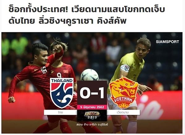 Cả nước Thái sốc, tiêu đề bài tường thuật trận đấu trên báo Thái.