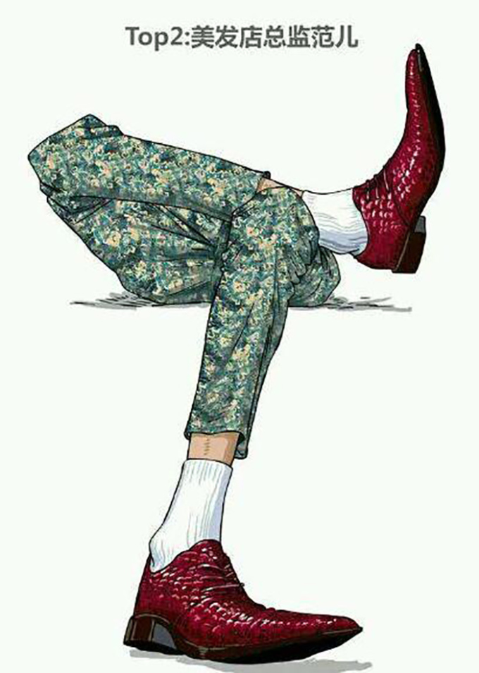 """<p> Kiểu 2: Mặc quần áo bóng lộn</p> <p> Tiếp đến là kiểu con trai chải chuốt, thích ăn mặc """"lồng lộn"""" với những bộ đồ màu mè, đi giày sáng màu và kiểu cách. Các anh chàng này thích style này thường dễ bị nghi ngờ về giới tính.</p>"""