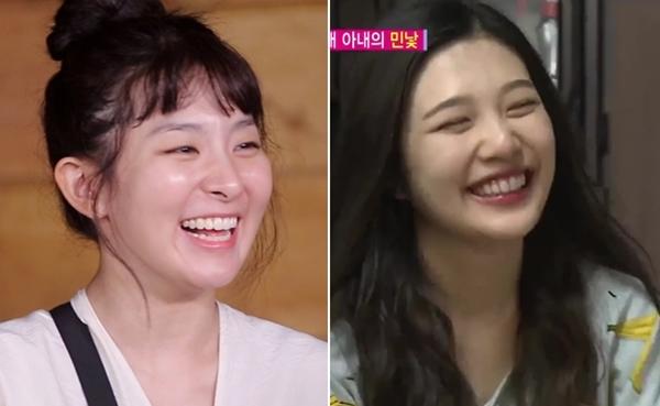 Mỗi khi tham gia show thực tế, Joy và Seul Gi đều tự tin khoe mặt mộc trước ống kính. Người hâm mộ trầm trồ bởi hai cô nàng vẫn giữ được làn da mịn màng sáng láng khi không có sự hỗ trợ của kem che khuyết điểm.