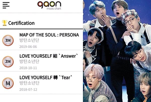 BTS là nghệ sĩ đầu tiên và duy nhấtsở hữu 3 album đạt chứng nhận triệu bản của Gaon.