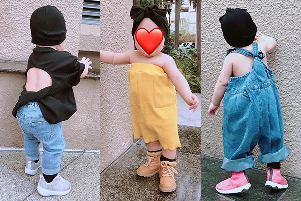 Giấu mặt con gái vì còn nhỏ nhưng Trà Ngọc Hằng rất chăm chia sẻ hình street style chất chơi với những bộ cánh mát mẻ của cô nhóc.