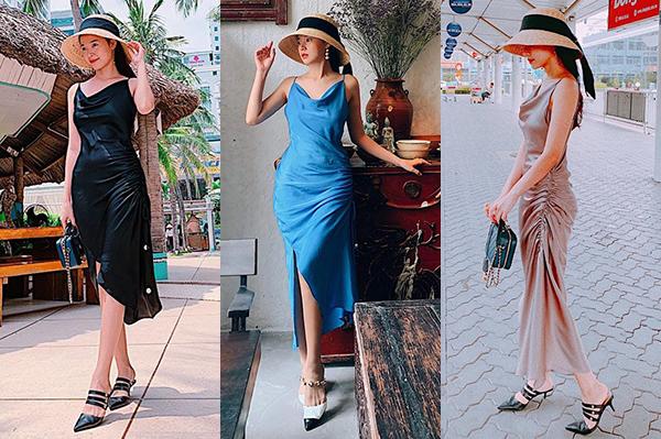 Có mức giá không đắt (550k) nên bộ đầm dây rút eo được Midu sắm nhiều màu như đỏ, xanh, đen, hồng... để diện lúc ra phố, đi du lịch. Cô cũng thường kết hợp cùng mũ cói rộng vành, giày cao gót theo phong cách cổ điển.