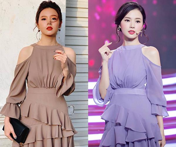 Nhiều lần khán giả phát hiện nữ diễn viên mặc một kiểu đồ giống hệt, tuy nhiên phiên bản màu sắc khác nhau trong nhiều lần xuất hiện. Chiếc váy khoét vai xếp bèo này là một trong những mẫu mã được lòng Midu, cô sắm đến 3-4 màu để thay đổi.