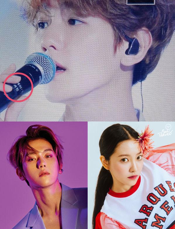 <p> Chiếc mic mà Baek Hyun (EXO) cầm trên tay lại có ghi tên Yeri (Red Velvet). Các fan cảm thấy khá khó hiểu vì SM nổi tiếng giàu có lại để các nghệ sĩ phải dùng đồ chung, nhất là món đồ quan trọng với ca sĩ như chiếc mic.</p>