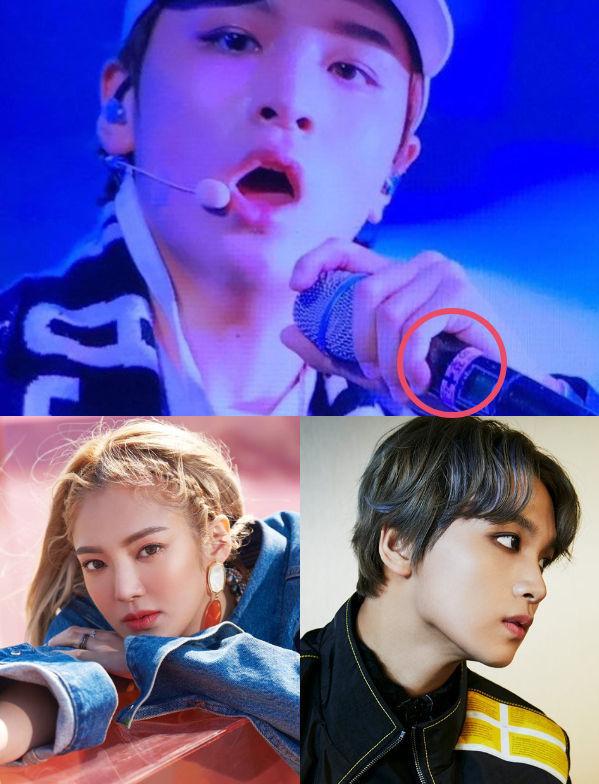 <p> Haechan đang cầm mic có ghi tên đàn chị Hyo Yeon (SNSD).</p>