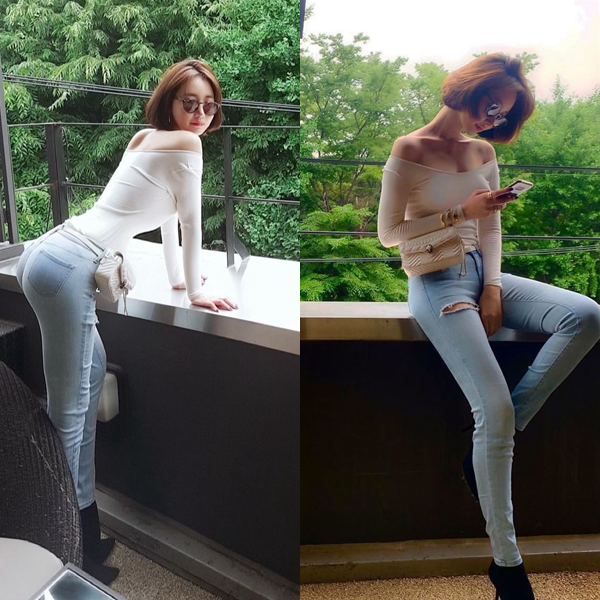 Go Joon Hee khiến fan đỏ mặt trước cách tạo dáng khoe đường cong sexy trong bộ đồ ôm sát.