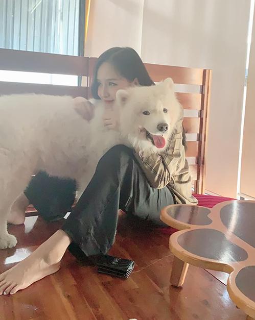Mai Phương Thúy chơi với chú chó lớn gần bằng người.