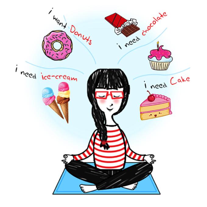 <p> Là khi bạn tập yoga để giảm cân và thanh tịnh tâm hồn nhưng đầu óc lại luôn suy nghĩ về đồ ăn.</p>