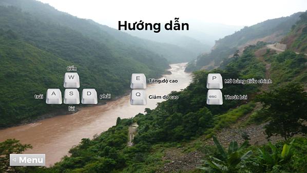 Giao diện chính trong game 3D Người lái đò sông Đà.