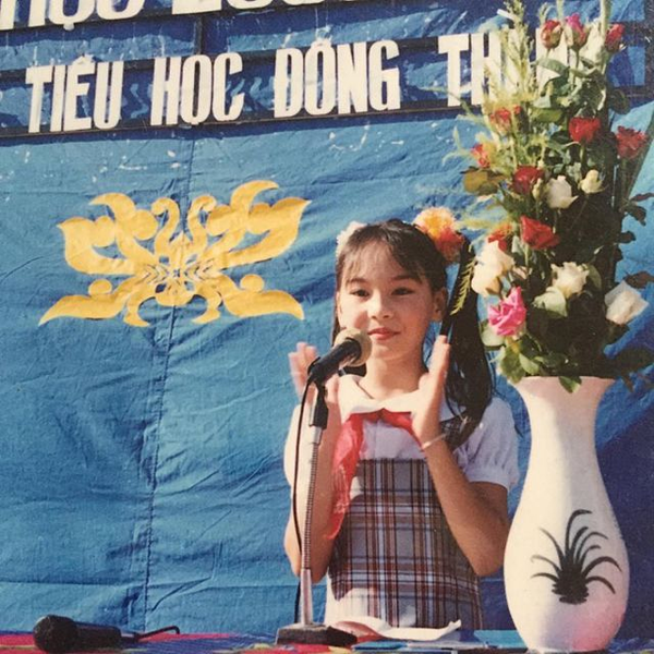 Năng nổ, Bảo Thanh năm 10 tuổi được chọn làm Liên đội trưởng trường Tiểu học Đông Thành, TP Bắc Giang.