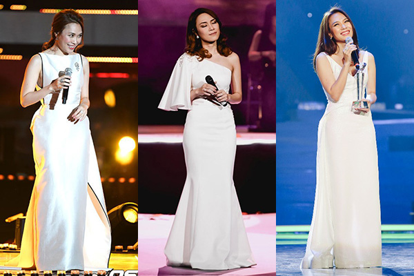 Thay vì đồ cầu kỳ, lòe loẹt, Mỹ Tâm tiết chế hơn hẳn khi chọn lựa trang phục. Đồ diễn của cô chủ yếu là những dáng váy đơn giản, tạo phom hiệu quả, sắc tinh khôi như trắng, hồng, xanh nhạt... tạo vẻ thanh lịch.