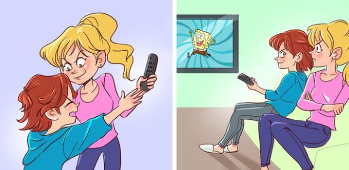 <p> Cuộc chiến giành điều khiển TV từ bé đến lớn.</p>