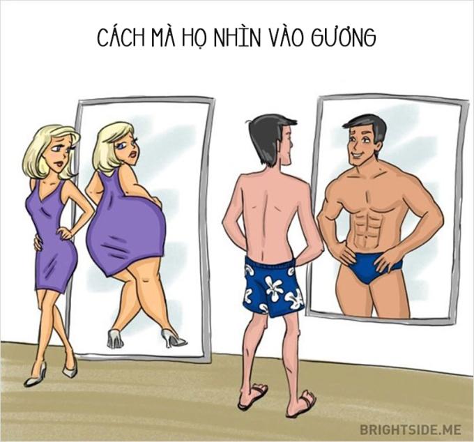 <p> Khi nhìn vào gương con gái luôn thấy mình béo nhưng con trai lại khác.</p>