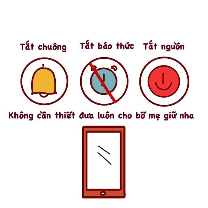 <p> Hãy đưa toàn bộ thiết bị điện thoại, đồng hồ thông minh cho bố mẹ hoặc để ở nhà.</p>