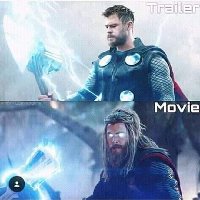 <p> <em>Avengers: Endgame</em> có hai trailer nhưng không cái nào trong số đó cho thấy ngoại hình thực sự của Thor. Thần Sấm đã rơi vào suy sụp sau thất bại ở <em>Infinity War</em>, dẫn đến việc sa vào bia rượu và thân hình phát phì. Trong trailer chỉ thấy anh dùng rìu Stormbreaker với cơ thể cường tráng cực ngầu.</p>