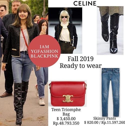 Diện cả cây đồ Celine đẹp xuất sắc, Lisa đang được mệnh danh là thánh nữ Celine, giống như Jennie thường được gọi là thánh sống Chanel.