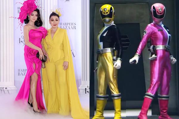 Cặp đôi Phương Khánh - Linh San hợp thành bộ đôi siêu nhân vàng, hồng chuẩn khỏi chỉnh.