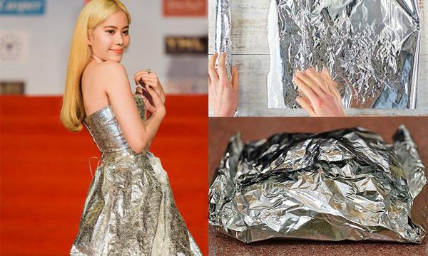 Chiếc váy quây lấp lánh của Nam Em không những không phù hợp với mái tóc, làn da của cô mà còn bị nhiều người so sánh với giấy bạc thường được dùng trong chế biến thực phẩm.